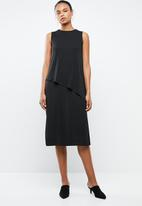 MANGO - Overlay drape dress - black