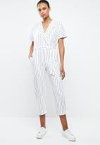 MANGO - Striped cotton jumpsuit - white & blue