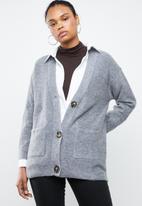 MANGO - Long line cardigan - grey