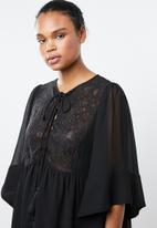 MANGO - Embroidered floaty dress - black