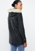 MANGO - Detachable faux fur hooded parka - black