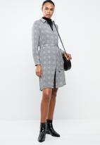 MANGO - Long sleeve check shirt dress - grey