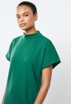 MANGO - Ribbed mini dress - dark green