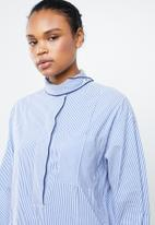 MANGO - Stripe bow collar shirt - blue & white