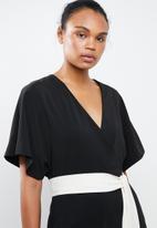 MANGO - Sash belt kimono jumpsuit - black
