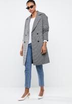 MANGO - Wool blend check coat - grey