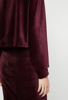 Superbalist - Velour funnel neck top- burgundy