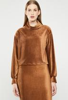 Superbalist - Velour funnel neck top- brown
