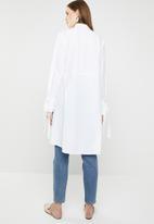 MANGO - Cotton dip hem shirt - white