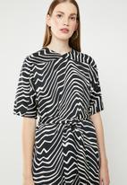 MANGO - Zebra v-neck dress - black & cream