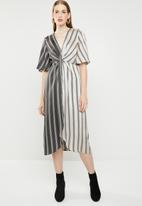 MANGO - Knot front crossover dress - black & cream