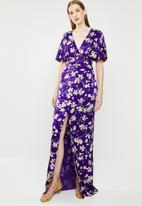 MANGO - Floral kimono dress - purple