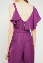 MANGO - Frilled tie waist jumpsuit - purple
