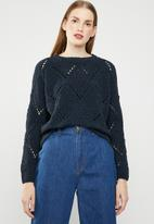 ONLY - Yasmin long sleeve structure pullover - navy