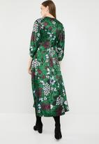 MANGO - Floral puff sleeve midi dress - green