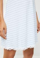 DORINA - Romy yarn dye sleep dress - blue & white