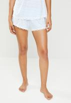DORINA - Romy yarn dye shorts - blue & white