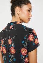 Brave Soul - Floral shift with mandarin collar - multi