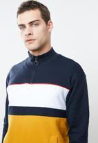 Superbalist - Colourblocked 1/4 zip pullover sweat - multi
