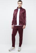Superbalist - Side stripe tricot tracktop - burgundy