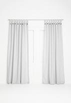 Sixth Floor - Button detail tab top unlined curtain - grey