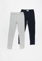Rebel Republic - Kids 2 pack leggings - grey & navy