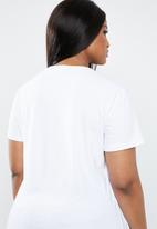 STYLE REPUBLIC PLUS - Face abstract tee - white