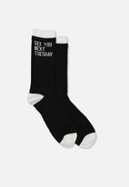 Typo - See you next Tuesday socks - black