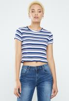 Supré  - Zoey midi length rib tee - red & blue