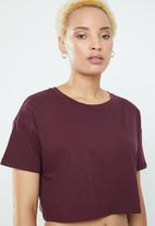 Supré  - Loose crop tee - burgundy