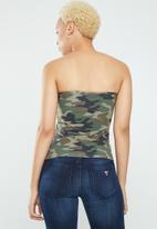Supré  - Printed long boobtube built in bra - brown & khaki