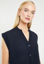 MANGO - Sleeveless chiffon shirt - navy
