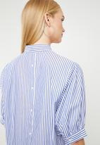 MANGO - Striped cotton shirt - blue & wite