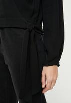 MANGO - Linen wrap blouse - black