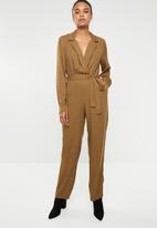 Superbalist - Revere collar jumpsuit - brown