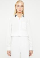 MANGO - Crystal embellished collar shirt - white