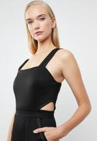 Superbalist - Jumpsuit with contrast stitch & cutout detail - black