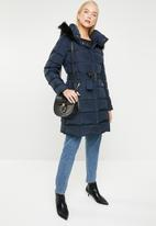 MANGO - Quilted feather coat - navy