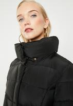 MANGO - Quilted feather coat - black