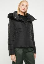 MANGO - Down and feather puffer - black