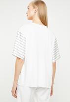 MANGO - Stripe T-shirt - white