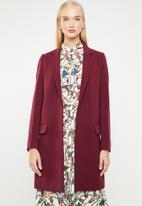 MANGO - Longline structured coat - burgundy