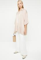 MANGO - Oversized blouse with crochet detail - neutral