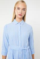 MANGO - Striped cotton shirt dress - blue & white
