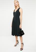 MANGO - V-neck cinched waist dress - black