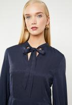 MANGO - Satin finish neck tie dress - navy