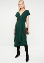 MANGO - Wrap drape midi dress - green