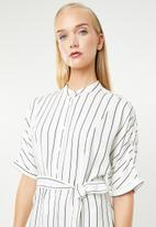 MANGO - Striped shirt dress - white