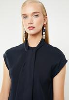 MANGO - Tie neck keyhole dress - navy