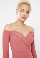 Sissy Boy - Queendom long sleeve bardot mini - pink
